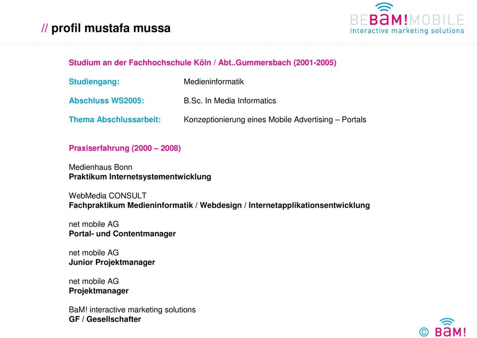 In Media Informatics Konzeptionierung eines Mobile Advertising Portals Praxiserfahrung (2000 2008) Medienhaus Bonn Praktikum