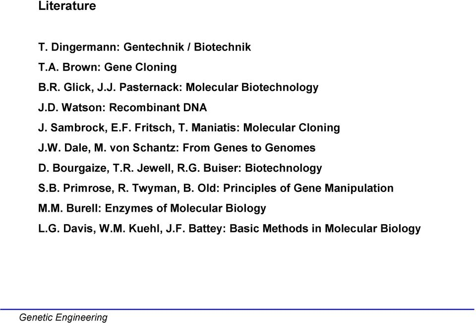 von Schantz: From Genes to Genomes D. Bourgaize, T.R. Jewell, R.G. Buiser: Biotechnology S.B. Primrose, R. Twyman, B.