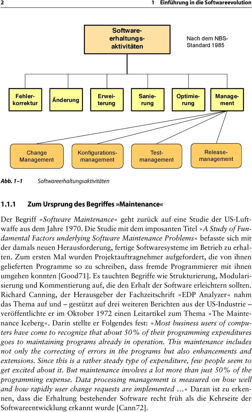 Die Studie mit dem imposanten Titel»A Study of Fundamental Factors underlying Software Maintenance Problems«befasste sich mit der damals neuen Herausforderung, fertige Softwaresysteme im Betrieb zu