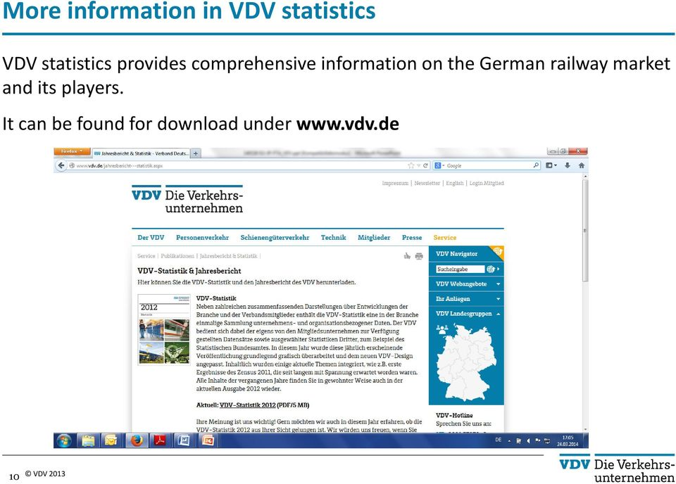 information on the German railway market and