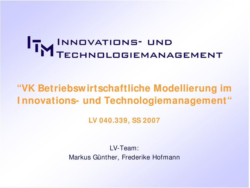 Technologiemanagement LV 040.