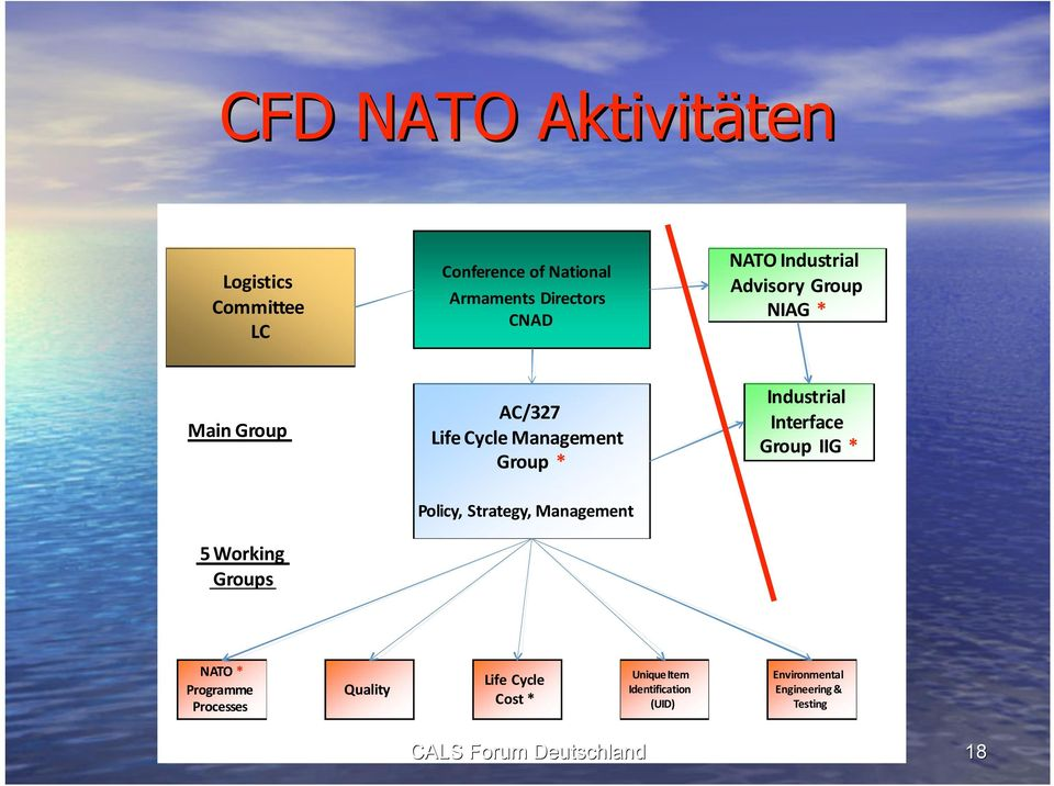 Industrial Interface Group IIG * 5 Working Groups Policy, Strategy, NATO * Programme