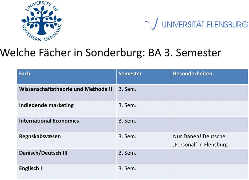 II 3. Sem. Indledende marketing International Economics 3. Sem. 3. Sem. Regnskabsvæsen 3.