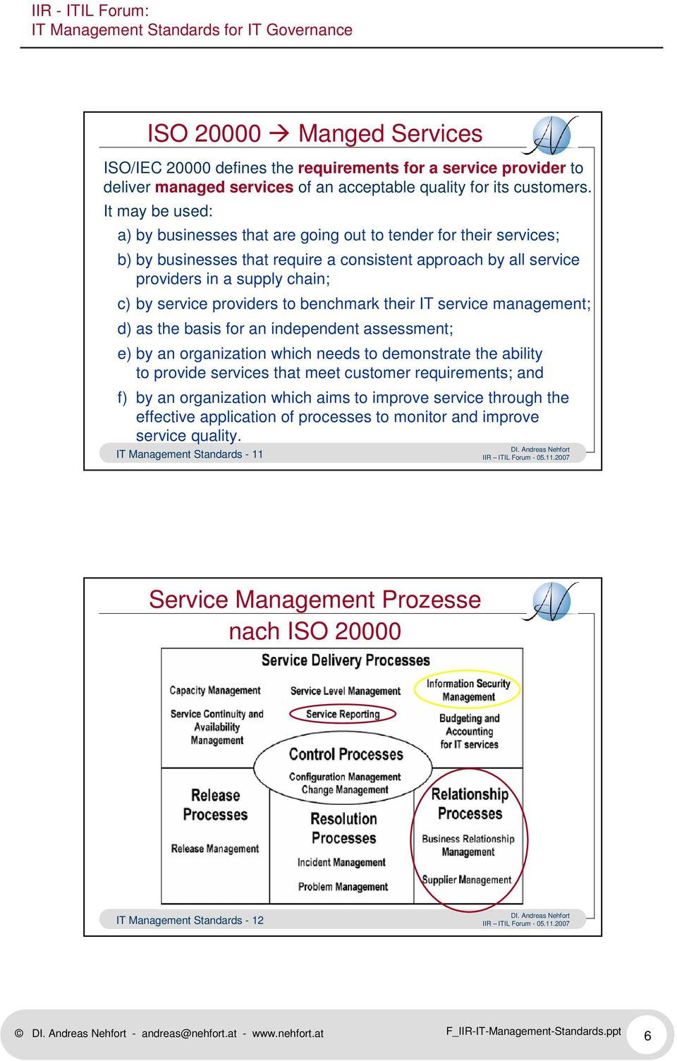 providers to benchmark their IT service management; d) as the basis for an independent assessment; e) by an organization which needs to demonstrate the ability to provide services that meet customer