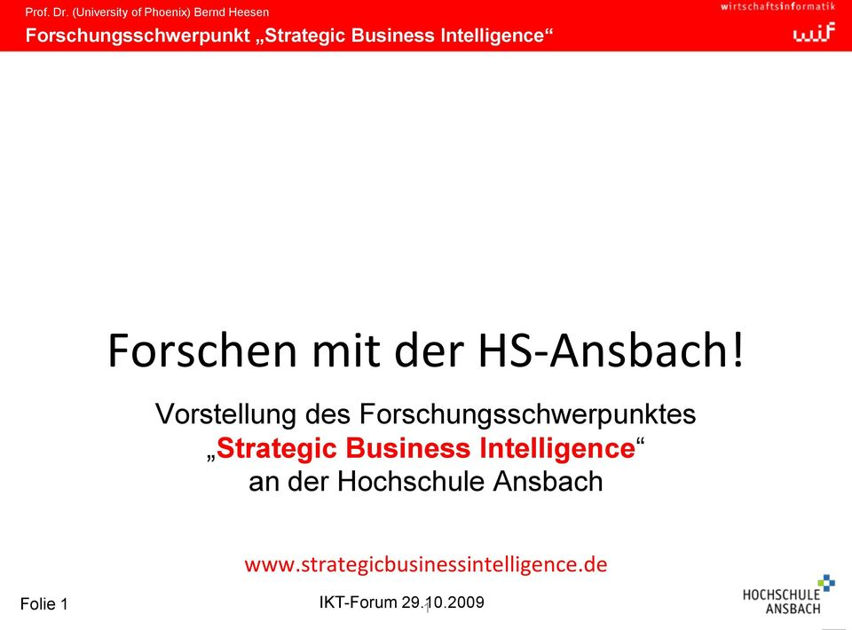 Strategic Business Intelligence an der