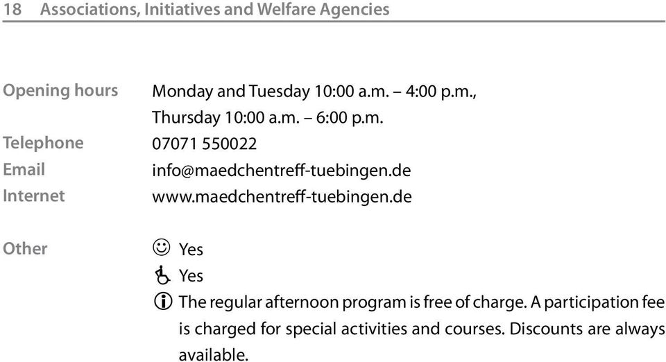 de www.maedchentreff-tuebingen.de Other Yes Yes The regular afternoon program is free of charge.