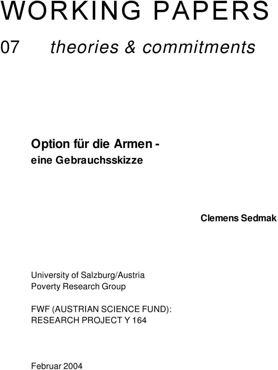 University of Salzburg/Austria Poverty Research Group