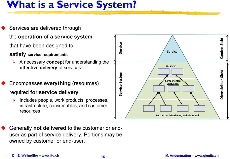 A necessary concept for understanding the effective delivery of services Encompasses everything (resources) required for