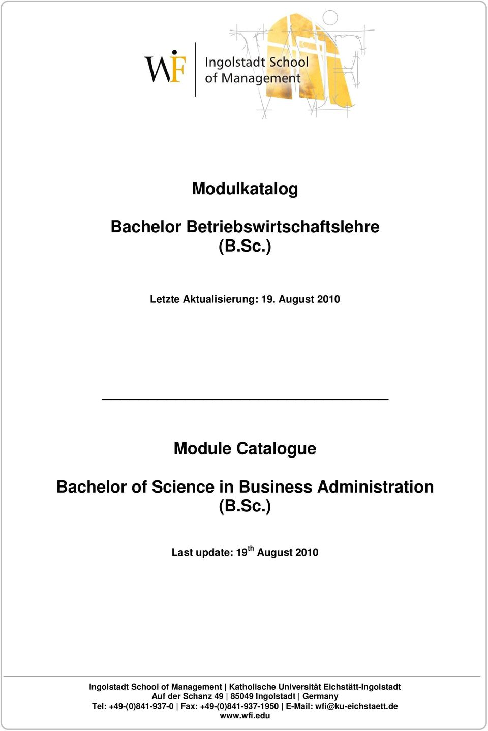 ence in Business Administration (B.Sc.