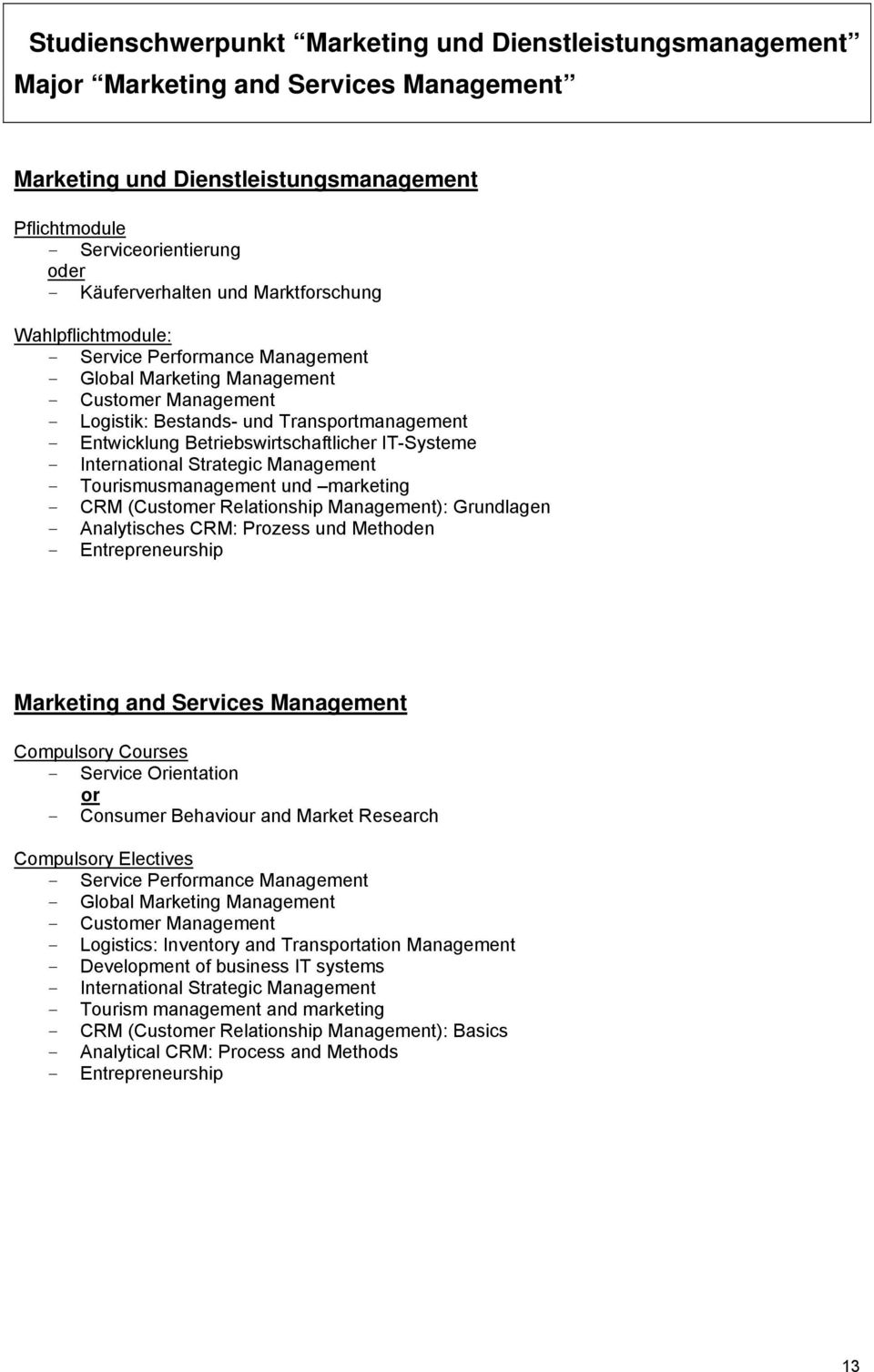Betriebswirtschaftlicher IT-Systeme - International Strategic Management - Tourismusmanagement und marketing - CRM (Customer Relationship Management): Grundlagen - Analytisches CRM: Prozess und