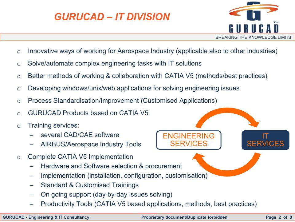 GURUCAD Products based on CATIA V5 o Training services: several CAD/CAE software AIRBUS/Aerospace Industry Tools ENGINEERING SERVICES IT SERVICES o Complete CATIA V5 Implementation Hardware and