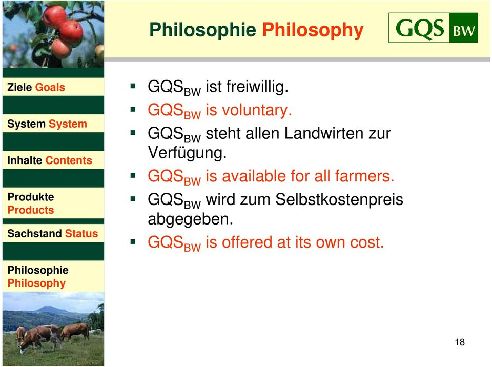 GQS BW is available for all farmers.