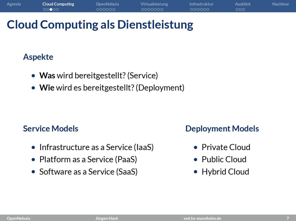 (Deployment) Service Models Deployment Models Infrastructure as a Service