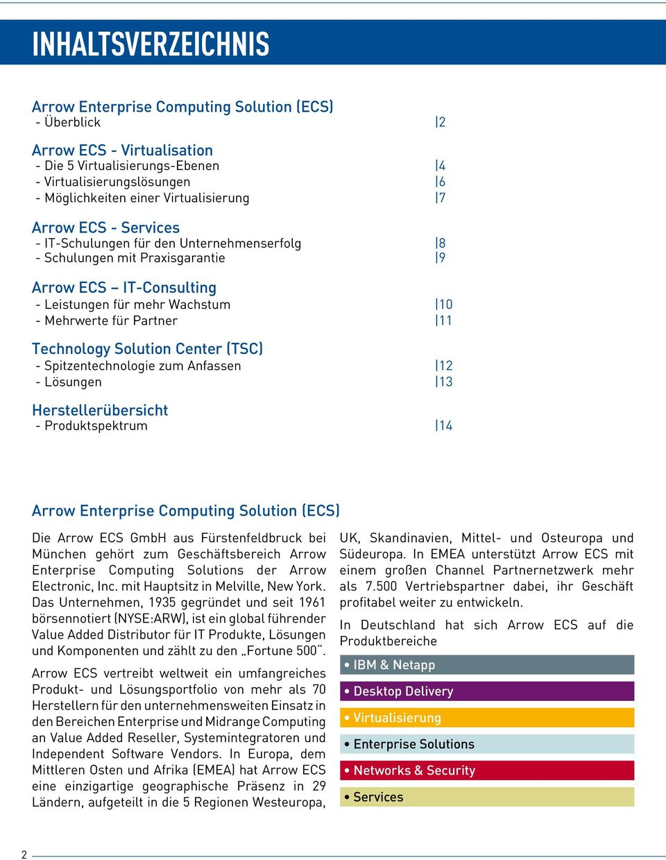 11 Technology Solution Center (TSC) - Spitzentechnologie zum Anfassen 12 - Lösungen 13 Herstellerübersicht - Produktspektrum 14 Arrow Enterprise Computing Solution (ECS) Die Arrow ECS GmbH aus