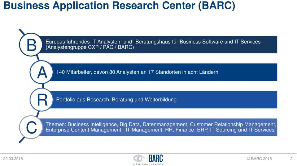Portfolio aus Research, Beratung und Weiterbildung C Themen: Business Intelligence, Big Data, Datenmanagement, Customer