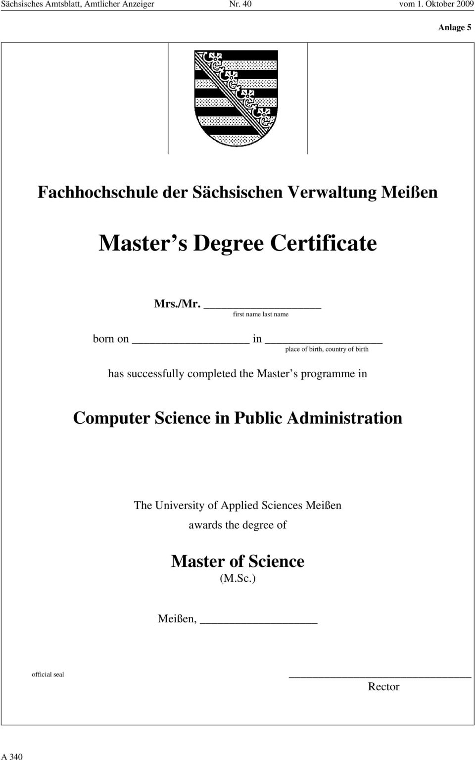 the Master s programme in Computer Science in Public Administration The University of Applied