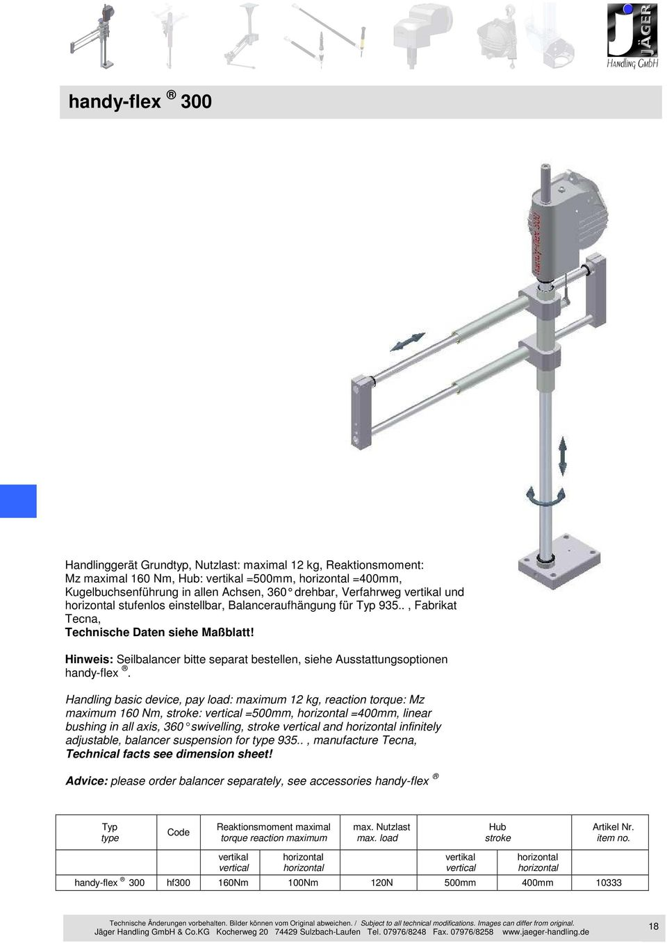 Handling basic device, pay load: maximum 12 kg, reaction torque: Mz maximum 160 Nm, stroke: vertical =500mm, =400mm, linear bushing in all axis, 360 swivelling, stroke vertic al and infinitely