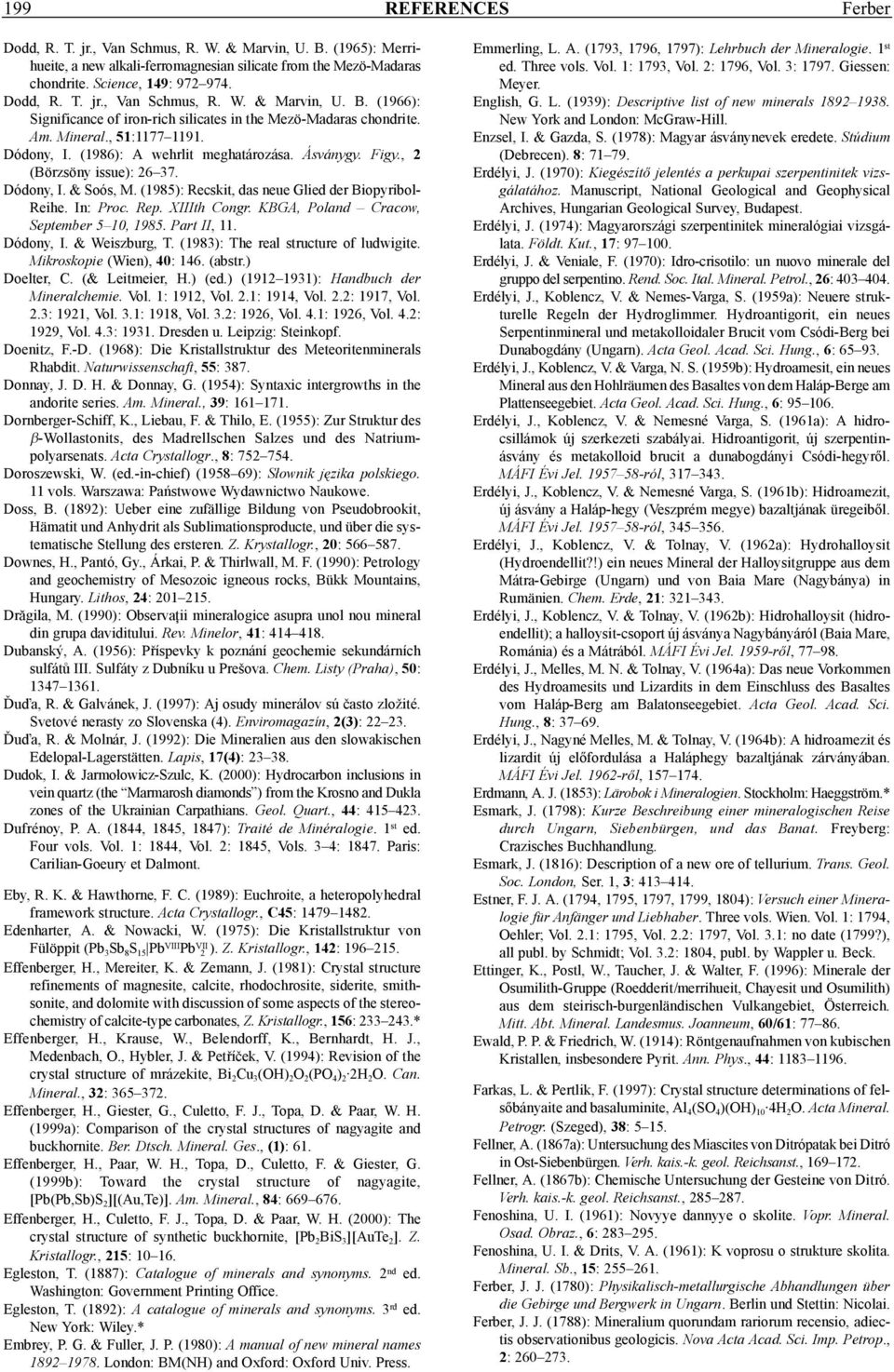 In: Proc. Rep. XIIIth Congr. KBGA, Poland Cracow, September 5 10, 1985. Part II, 11. Dódony, I. & Weiszburg, T. (1983): The real structure of ludwigite. Mikroskopie (Wien), 40: 146. (abstr.