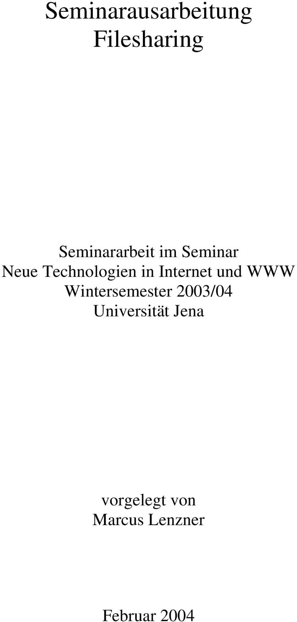 in Internet und WWW Wintersemester 2003/04