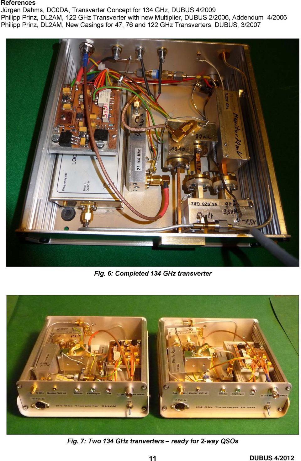 Philipp Prinz, DL2AM, New Casings for 47, 76 and 122 GHz Transverters, DUBUS, 3/2007