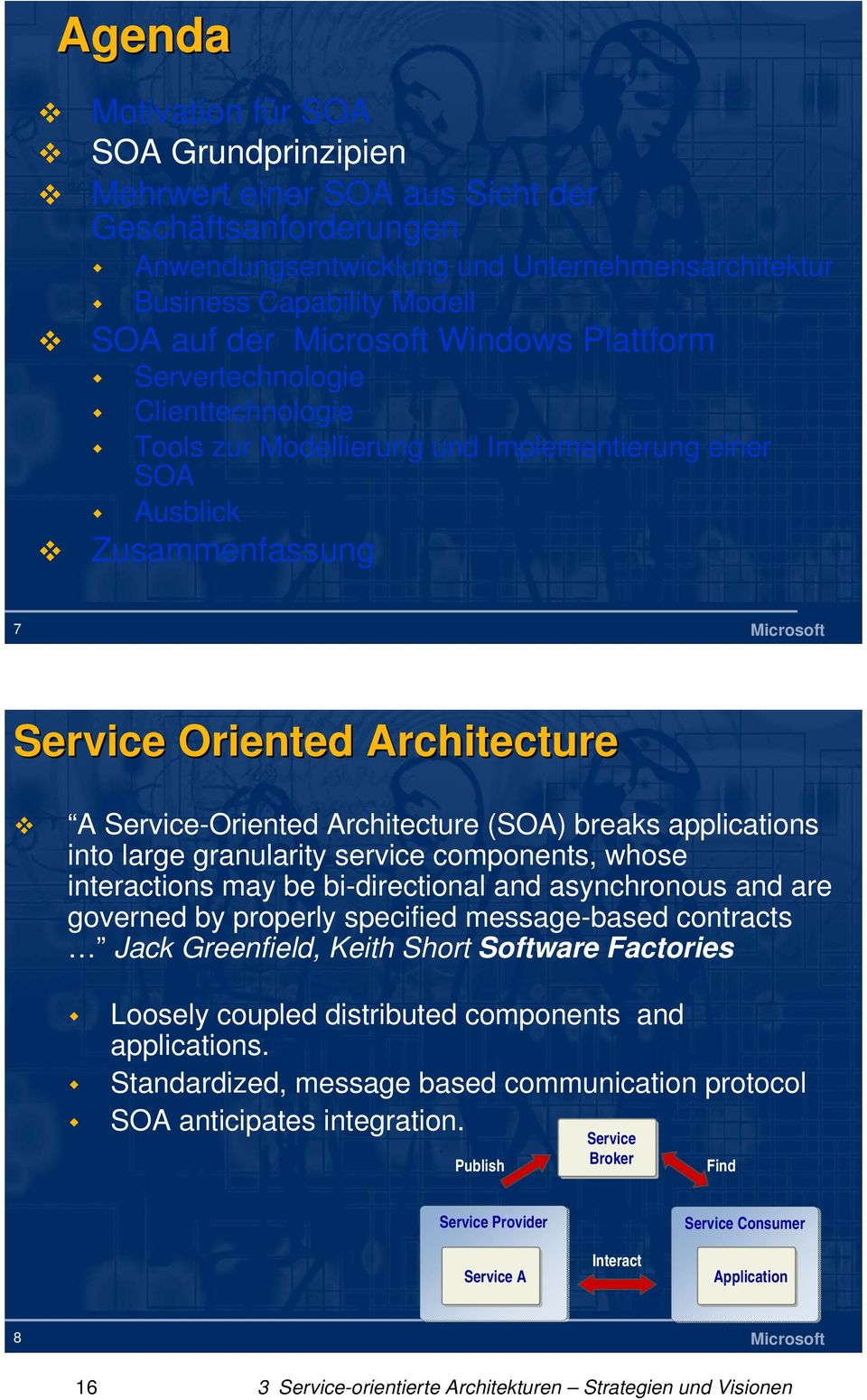 Service-Oriented Architecture (SOA) breaks applications into large granularity service components, whose interactions may be bi-directional and asynchronous and are governed by properly specified