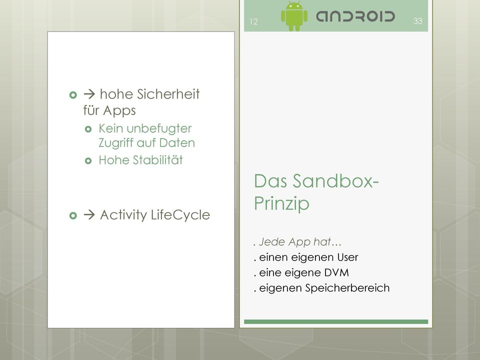 LifeCycle Das Sandbox- Prinzip. Jede App hat.