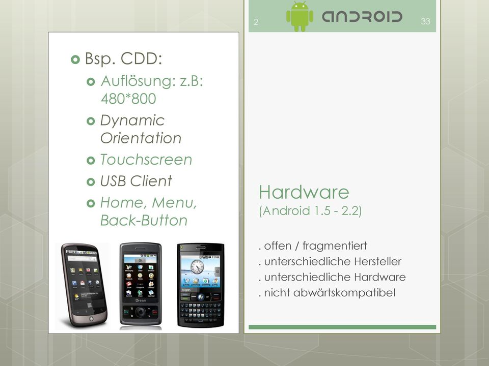 Home, Menu, Back-Button Hardware (Android 1.5-2.2).