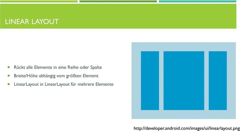Element LinearLayout in LinearLayout für mehrere