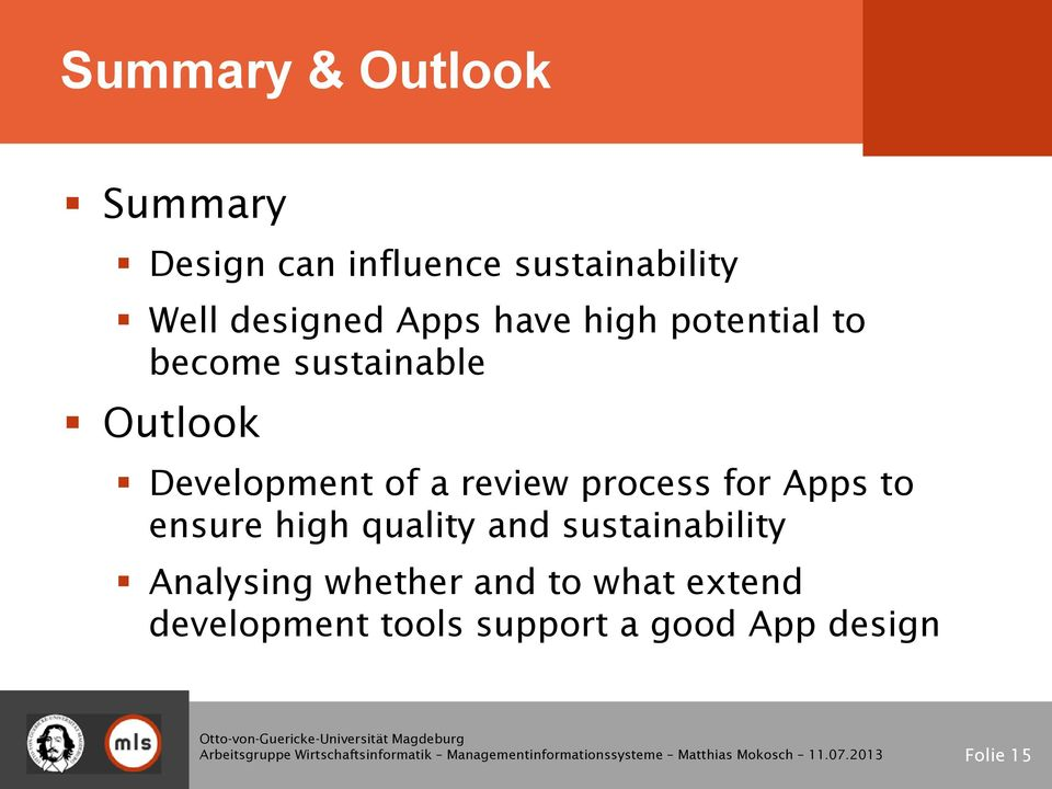 review process for Apps to ensure high quality and sustainability Analysing