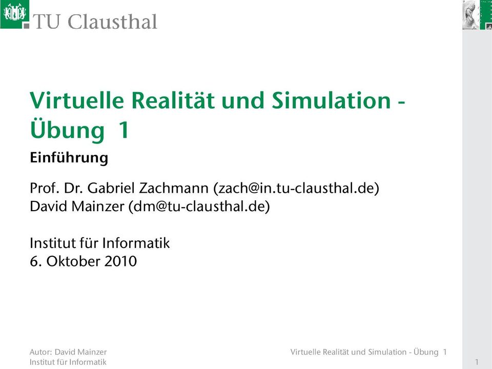 tu-clausthal.de) David Mainzer (dm@tu-clausthal.