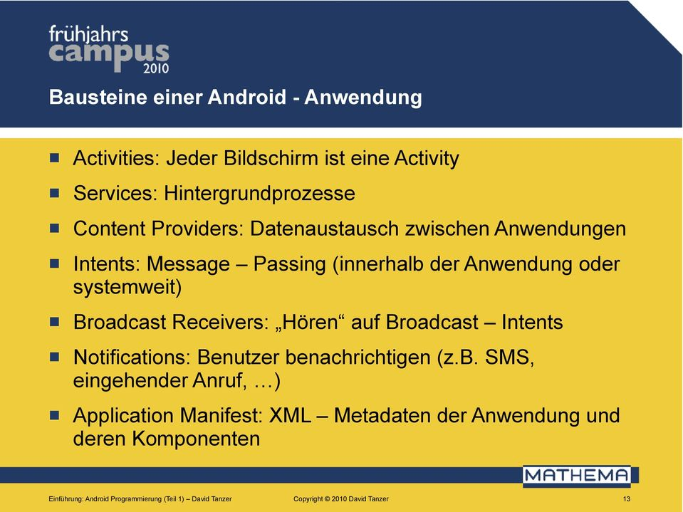 Receivers: Höre auf Broadcast Itets Notificatios: Beutzer be