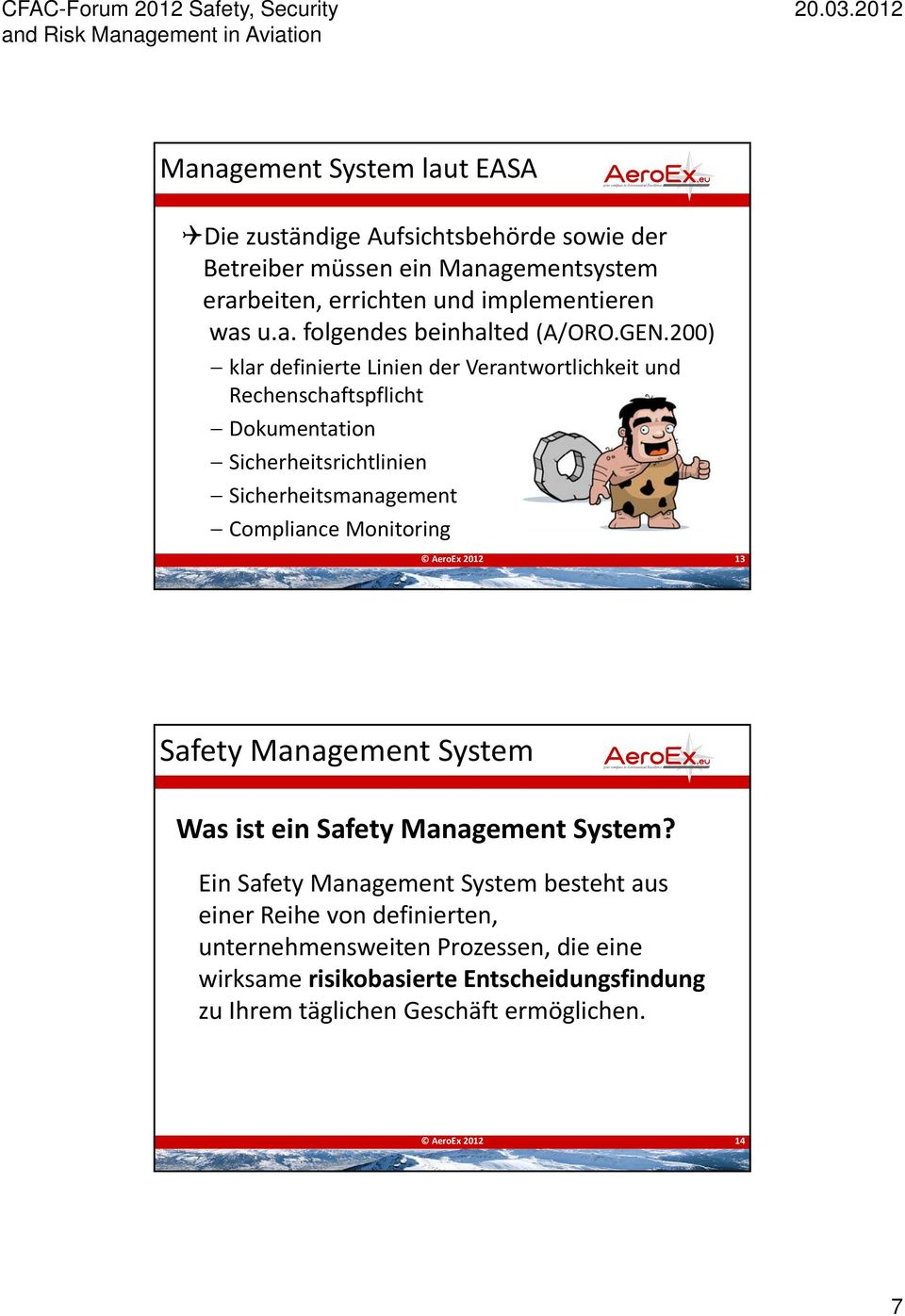 Monitoring AeroEx 2012 13 Safety Management System Was ist ein Safety Management System?