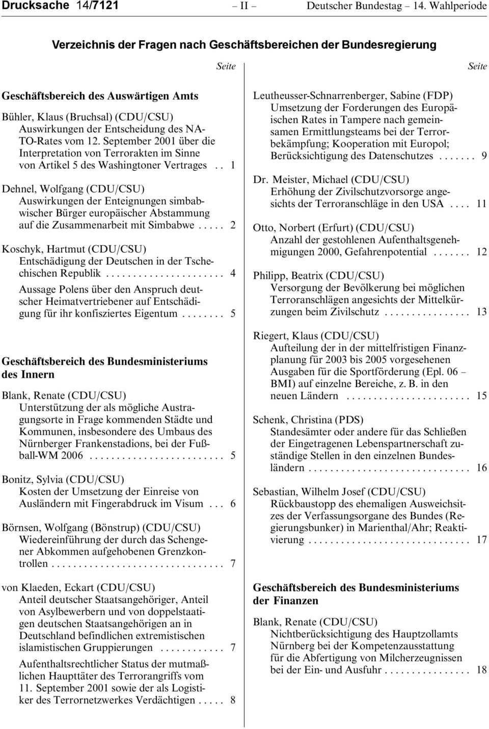 TO-Rates vom 12. September 2001 über die Interpretation von Terrorakten im Sinne von Artikel 5 des Washingtoner Vertrages.