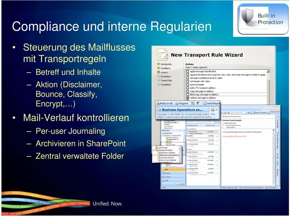 (Disclaimer, Bounce, Classify, Encrypt, ) Mail-Verlauf