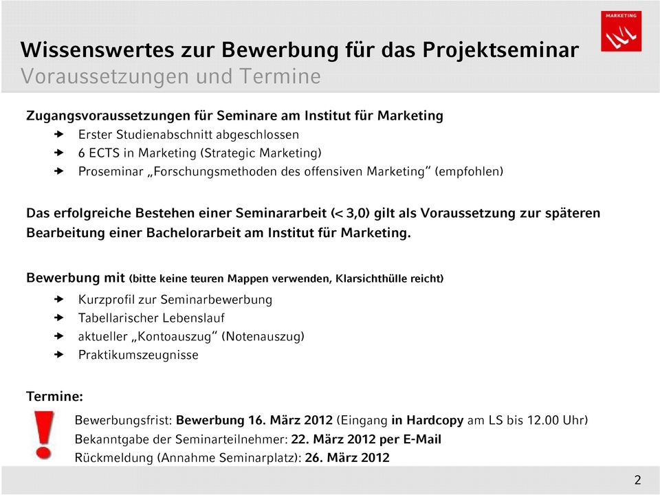 Bachelorarbeit am Institut für Marketing.