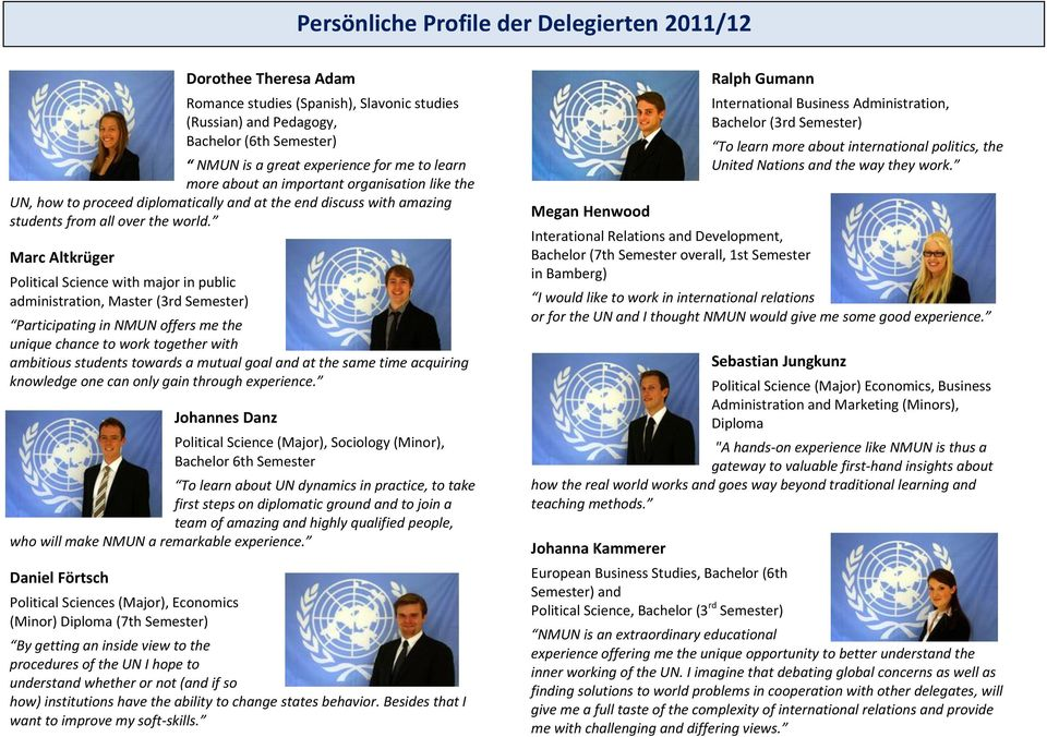Marc Altkrüger Political Science with major in public administration, Master (3rd Semester) Participating in NMUN offers me the unique chance to work together with ambitious students towards a mutual