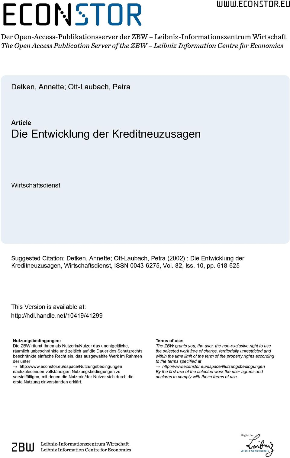 eu Der Open-Access-Publikationsserver der ZBW Leibniz-Informationszentrum Wirtschaft The Open Access Publication Server of the ZBW Leibniz Information Centre for Economics Detken, Annette;