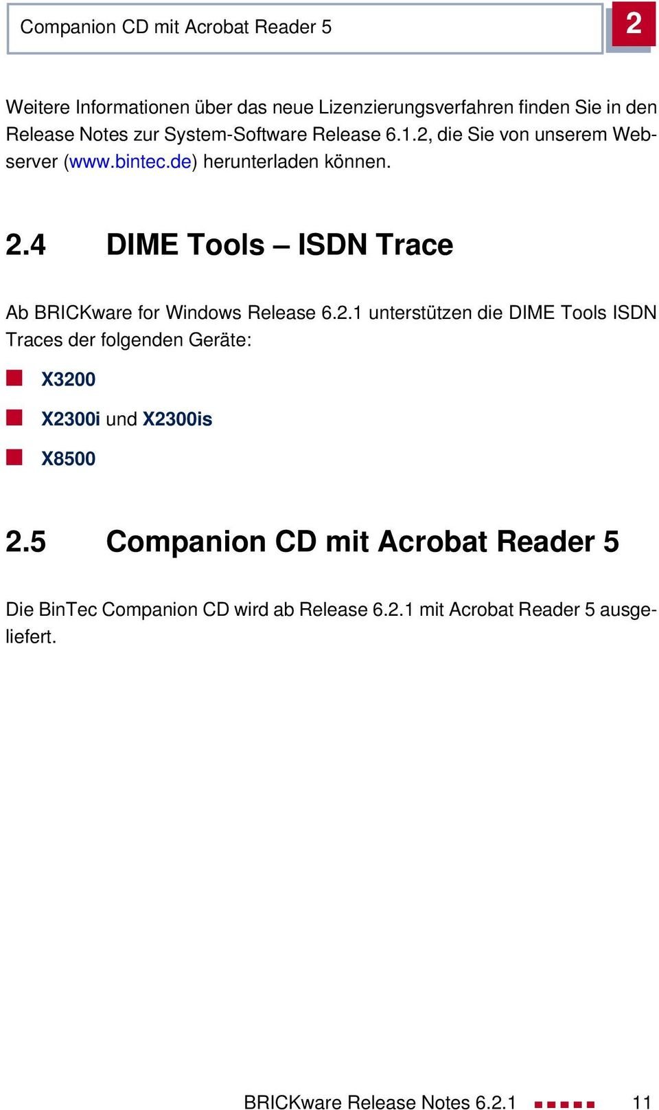 4 DIME Tools ISDN Trace Ab BRICKware for Windows Release 6.2.