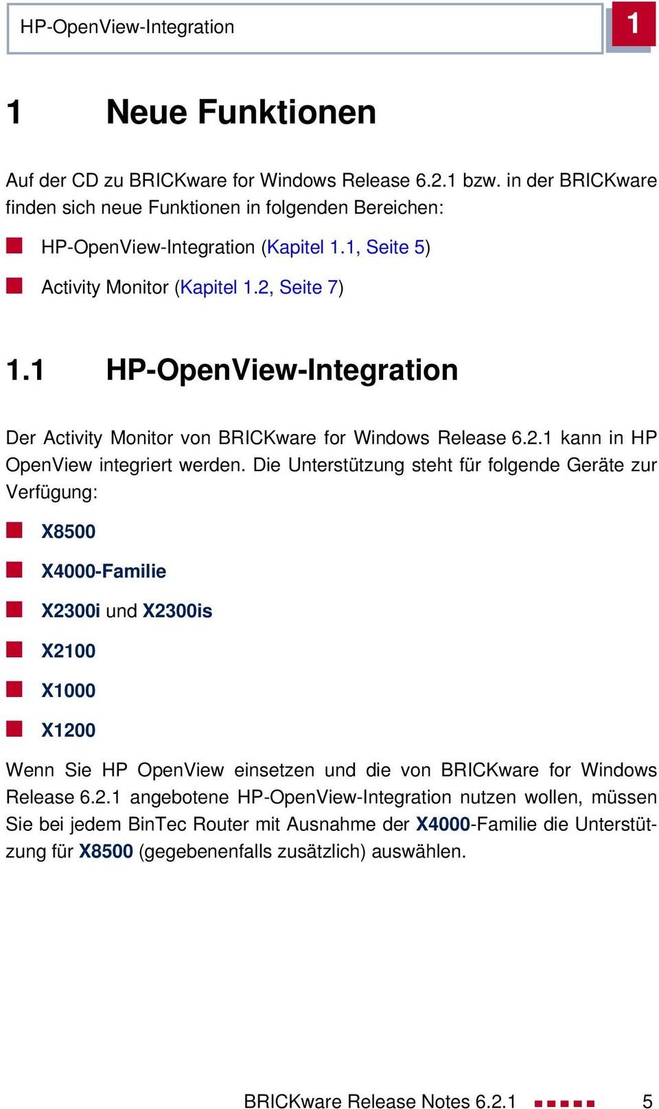 1 HP-OpenView-Integration Der Activity Monitor von BRICKware for Windows Release 6.2.1 kann in HP OpenView integriert werden.