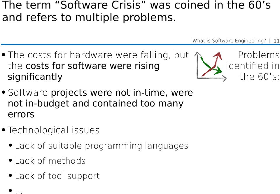 11 The costs for hardware were falling, but the costs for software were rising significantly Problems