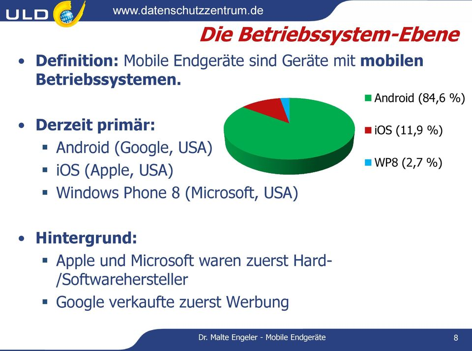 Android (84,6 %) Derzeit primär: Android (Google, USA) ios (Apple, USA) Windows