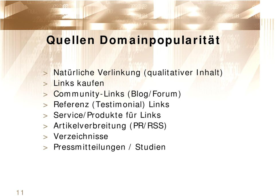Referenz (Testimonial) Links > Service/Produkte für Links >