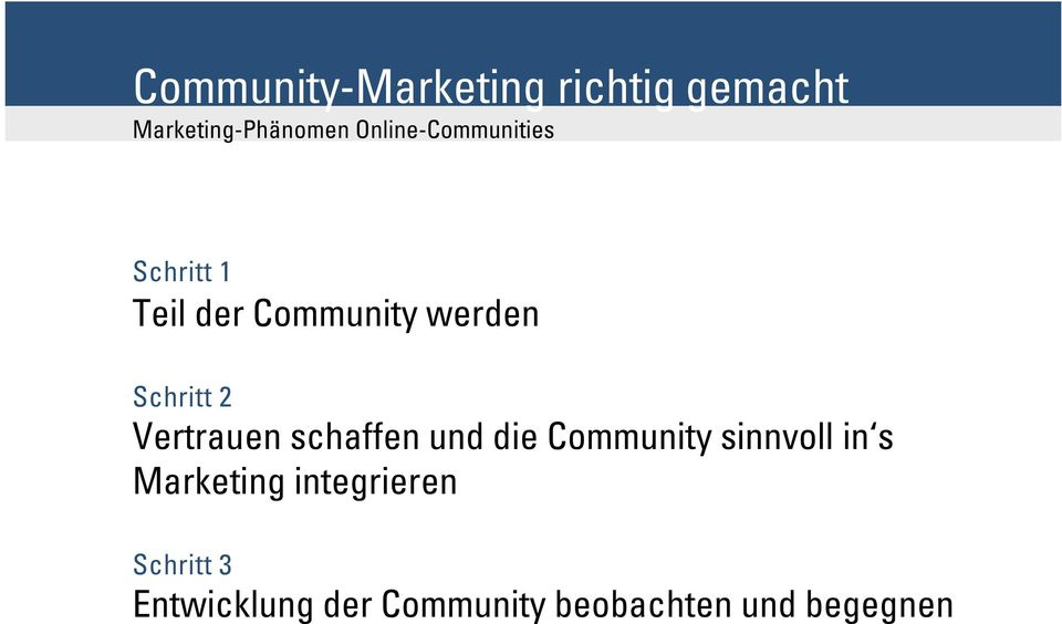 die Community sinnvoll in s Marketing integrieren