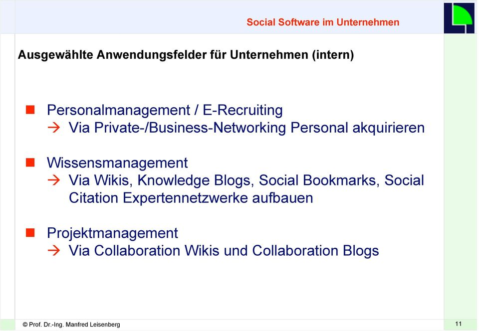 Wissensmanagement Via Wikis, Knowledge Blogs, Social Bookmarks, Social Citation