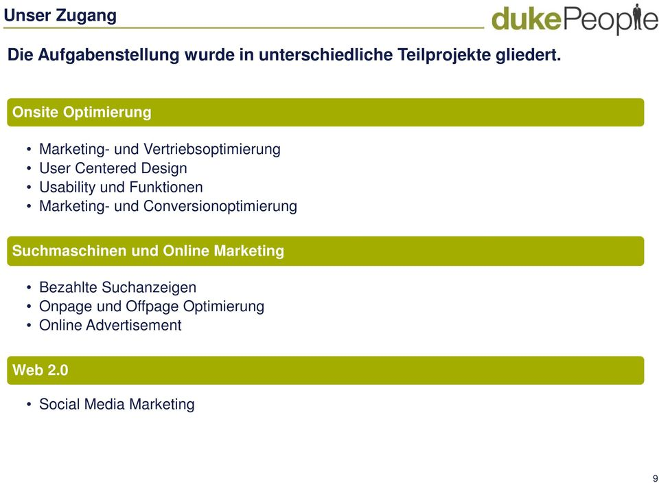 Funktionen Marketing- und Conversionoptimierung Suchmaschinen und Online Marketing