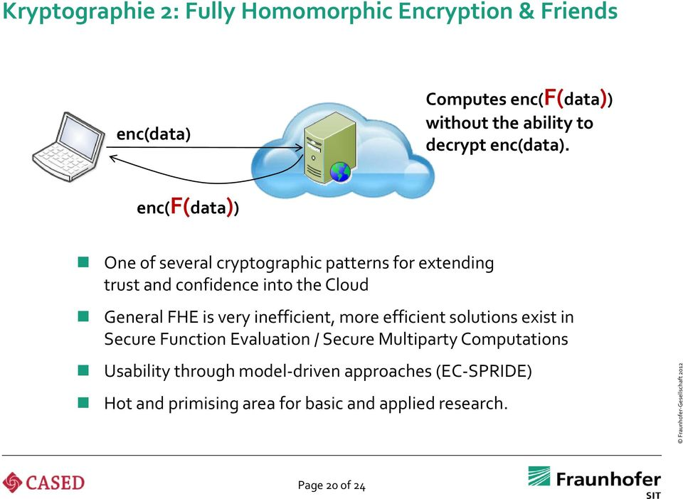 enc(f(data)) One of several cryptographic patterns for extending trust and confidence into the Cloud General FHE is