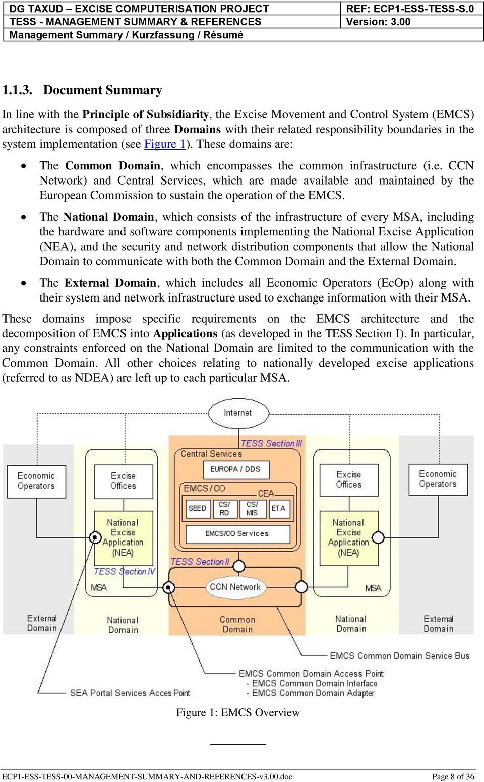the system implementation (see Figure 1). These domains are: The Common Domain, which encompasses the common infrastructure (i.e. CCN Network) and Central Services, which are made available and maintained by the European Commission to sustain the operation of the EMCS.