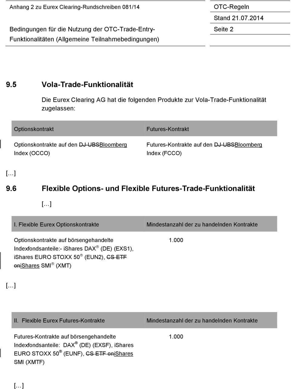 Futures-e auf den DJ-UBSBloomberg Index (FCCO) 9.6 Flexible Options- und Flexible Futures-Trade-Funktionalität I.