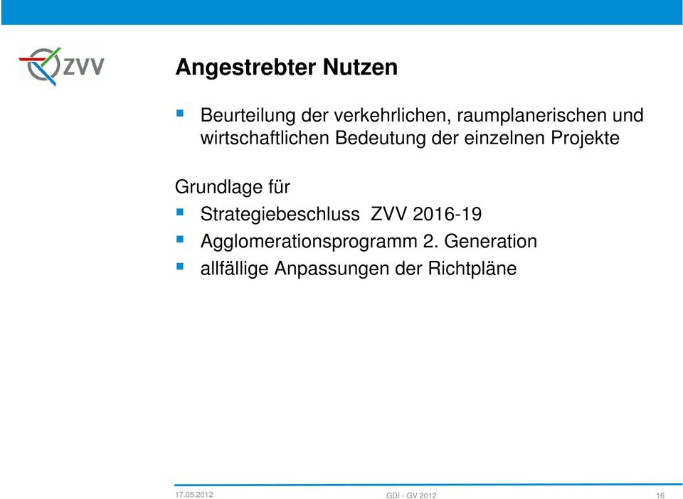Strategiebeschluss ZVV 2016-19 Agglomerationsprogramm 2.