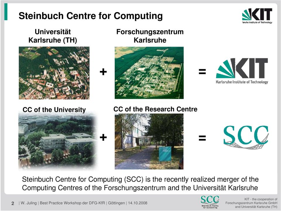 recently becomerealized the Merger merger of of the the Computing Forschungszentrum Centres of the Karlsruhe Forschungszentrum and the